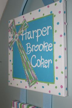 Customized Hospital Door Hanger for New Baby. Scripture Nursery Door Hanger. $45.00, via Etsy.