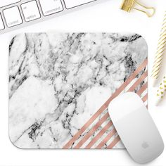 White marble and rose gold mouse pad for her Rose by GypseeArt