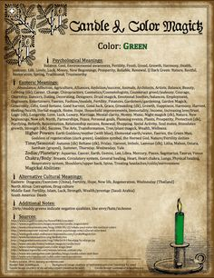 Candles:  #Candle & #Color #Magick ~ Green.