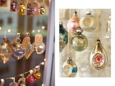 Guirnalda luminosa con adornos y bolas vintage vistas en Pinterest.