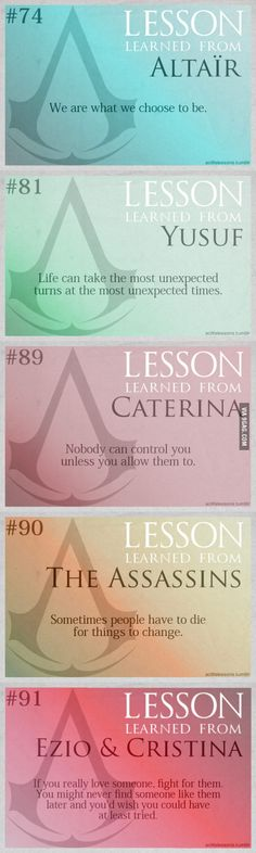 Some Assassin's Creed life lessons..
