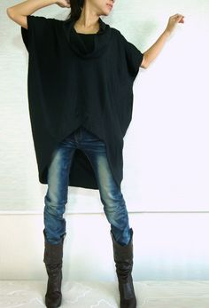 Women Black Cotton Asymmetrical Oversized T-Shirt Tunic Dress Plus Size Top. $45.00, via Etsy.