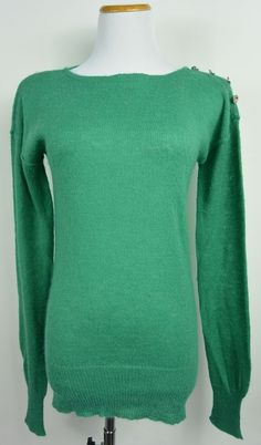 J.Crew L Large Green Knit Acrylic Wool Blend Crewneck Button Light Sweater #612 #JCrew #Crewneck