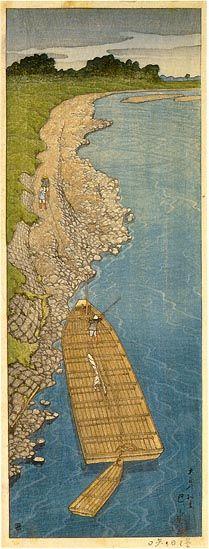 Cloudy Day at Yaguchi  by Kawase Hasui, 1919  (published by Watanabe Shozaburo)