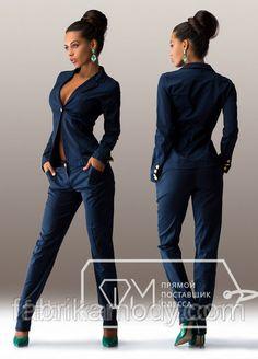 Костюм из стрейч-коттона - короткий пиджак на одной пуговице и прямые брюки Цвет синий 4838, фото 1