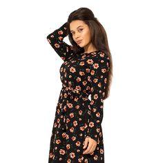 Платье-миди из принтованого трикотажа с длинными рукавами под поясок и оборкой на подоле 11596 Your Style, Cold Shoulder Dress, High Neck Dress, Dresses, Fashion, Turtleneck Dress, Vestidos, Moda, La Mode