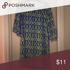 Shift Dress Multi print navy and lime shift dress..3/4 length sleeves..back zipper..100%polyester.. Rue21 Dresses Mini