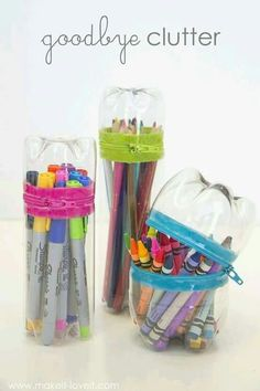 Stationery storage made from plastic bottles