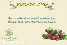 Porada Dnia #kaszajaglana #Poradadnia #naturoterapia #kochajzdrowienaturalnie #odkwaszanie Advice, Day, Tableware, Dinnerware, Tips, Tablewares, Dishes, Place Settings