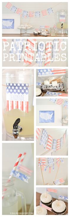 Everything you need to decorate and party for the 4th of July. Fun patriotic water color bunting, cupcake toppers, bag topper, drink labels, and a super cute print.