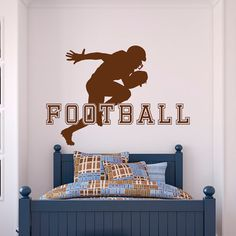 Football Wall Decal Sports Man American Football Player Sport Wall Decals Vinyl Stickers Teens Boys Room College Wall Art Home Decor Approximate