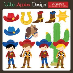 Cowboy Clipart - This set includes cowboys, cowboy boots, a cactus and more.  Great for invitations, scrapbooking, and more.