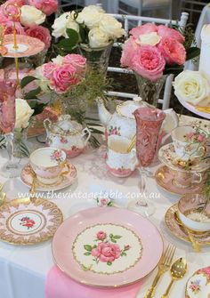 Pink and gold luxury high tea party. The Vintage Table, Perth. Shabby Chic Birthday Party Ideas, Tea Party Birthday, Tea Table Settings, Tea Party Table, Tea Tables, Vintage Tea Parties, Tea Party Decorations, Tea Party Bridal Shower, High Tea