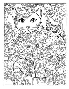 Dover Publications Creative Haven Creative Cats Coloring Book artwork by Marjorie Sarnat Butterfly Flower Abstract Doodle Zentangle Coloring pages colouring adult detailed advanced printable Kleuren voor volwassenen coloriage pour adulte anti-stress Adult Coloring Pages, Coloring Pages For Grown Ups, Cat Coloring Page, Animal Coloring Pages, Printable Coloring Pages, Colouring Pages, Coloring Sheets, Doodle Coloring, Colorful Drawings