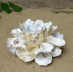 Votive candle holder oyster shell Centerpiece by ForestMeetsSea
