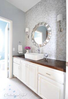 backsplash with silver mirror + bathroom makeover