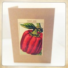 A6 folded card with envelopeAll our cards are hand made Each uses an original vintage french seed packet labelPackaged in protective cellophane sleeve