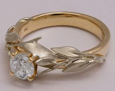 Two Tone Leaves Engagement Ring 14K White and by doronmerav