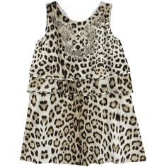Leopard stretch jersey dress made of cotton and elastane blend. Plain stretch cotton jersey lining. Round neckline. Sequined embroidery on the chest. Roberto Cavalli logo print on each flounce. Machine washable at 30°C. XS=11years. S=12years. M=14years. - 110,00 €