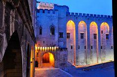 Papal Palace lit, Avignon, France