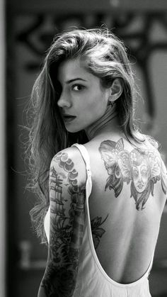 Beautiful Girl Tattooed Back #iPhone #6  #plus #wallpaper