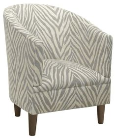 Ashlee Barrel Chair, Gray Zebra