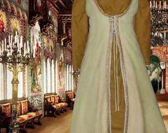 Renaissance 2pcSet SCA Garb Medieval Costume Front-Lacing Yellow Surcote w Goldenrod Kirtle LXL