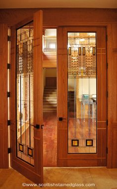 Scottish Stained Glass french door panels inspired by Frank Lloyd Wright.