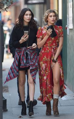 Model Strut from Celebrity Street Style  Hailey Baldwin and Bella Hadid sport dainty boho-wear as they take their struts to the sidewalk after wrapping a photo shoot.