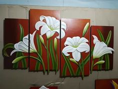 Flores 3 Piece Canvas Art, Flower Painting Canvas, Mural Painting, Painting & Drawing, Aluminum Foil Art, Plaster Crafts, Clay Wall Art, Clay Art Projects, Oil Pastel Drawings