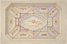 Design for a ceiling with a putto Jules-Edmond-Charles Lachaise, French