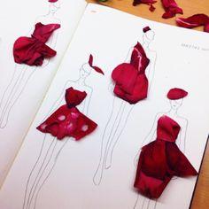 Modowe ilustracje z płatków kwiatów EXAMPLE.PL