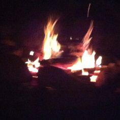 Enjoying a campfire right in my own yard!
