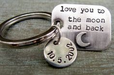 Hand Stamped Personalized Sterling Silver Key Chain for Him - Valentine's Day Gift, Dad, Grandpa, Brother, Teenager