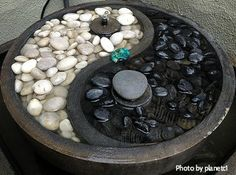 Ying Yang corner fountain/black and white solar fountain with round bottom and small fountain spray, corner feng shui water fountain, healing decorative fountain.