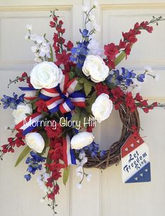 Let Freedom Ring Patriotic Red White Blue Americana Summer Outdoor Indoor Floral Custom Wreath Patriotic Wreath, 4th Of July Wreath, Patriotic Crafts, Patriotic Party, July Crafts, Cemetary Decorations, Lantern Centerpieces, Vases, Lanterns