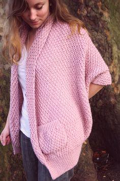 Gilet tricoté au point de blé, un seul grand rectangle à tricoter                                                                                                                                                     Plus