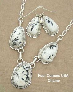 Four Corners USA Online - White Buffalo Turquoise Necklace Earring Set by Navajo Artisan Kathy Yazzie NAN-1405, $515.00 (http://stores.fourcornersusaonline.com/white-buffalo-turquoise-necklace-earring-set-by-navajo-artisan-kathy-yazzie-nan-1405/)