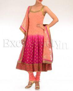 Peach Shaded Anarkali Suit Set By Kibar
