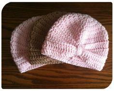 Pink Crochet Newborn Baby Turban Hat by fun2make on Etsy, $12.95