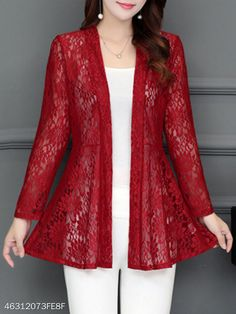 Collarless Lace See-Through Plain Cardigan - Fashion & Dresses Lace Cardigan, Cardigan Fashion, Stylish Dresses, Fashion Dresses, Mode Hijab, Cardigans For Women, Women's Cardigans, Cardigan Sweaters, Pakistani Dresses