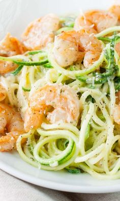 Shrimp and Zucchini Noodles in a Parmesan Pesto Cream Sauce - my new favorite!!!