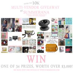 Come check out Summerana.com's Dreamy 10K  Multi-vendor Giveaway and Enter to WIN. 34 WINNERS and 34 PRIZES with nearly $3K in dreamy prizes!