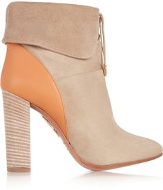 Aquazzura Cambridge Suede and Leather Ankle Boots SAVE UP TO 75% OFF! CLICK FOR UPDATED SALES PRICE.