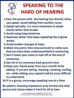 Rules for speaking to the hard of hearing.