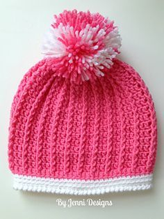Ribbed Kids Hat Free Crochet Pattern It's such a beautiful, soft, ribbed crochet hat with pompom detail at the top. This Ribbed Kids Hat Free Crochet Pattern works up fast and makes a great beginner project. Ribbed Crochet, Crochet Beanie, Knit Or Crochet, Crochet Crafts, Crochet Projects, Ravelry Crochet, Crochet Stitch, Double Crochet, Crochet Kids Hats