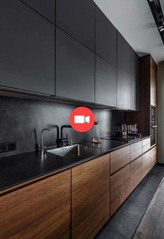 Superb black kitchen design concepts 42 Supply through chocolateandtea Grey Kitchen Designs, Luxury Kitchen Design, Kitchen Room Design, Contemporary Kitchen Design, Kitchen Decor, Kitchen Ideas, Kitchen Modern, Modern Kitchen Cabinets, Kitchen White