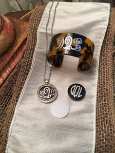 Tortoise Shell And Silver Monogramed Necklace Set With Bracelet along with interchangeable colors of Black and White! by hensleyhautedesigns. Explore more products on http://hensleyhautedesigns.etsy.com