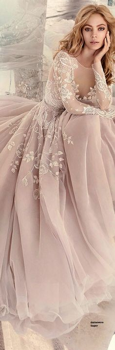 Romantic Hayley Paige Nude Wedding Dress Bridal Gown