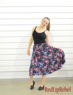 Free flowing ALine Skirt Late 80s Early 90s Pink/ by RedLipRebel, $17.00